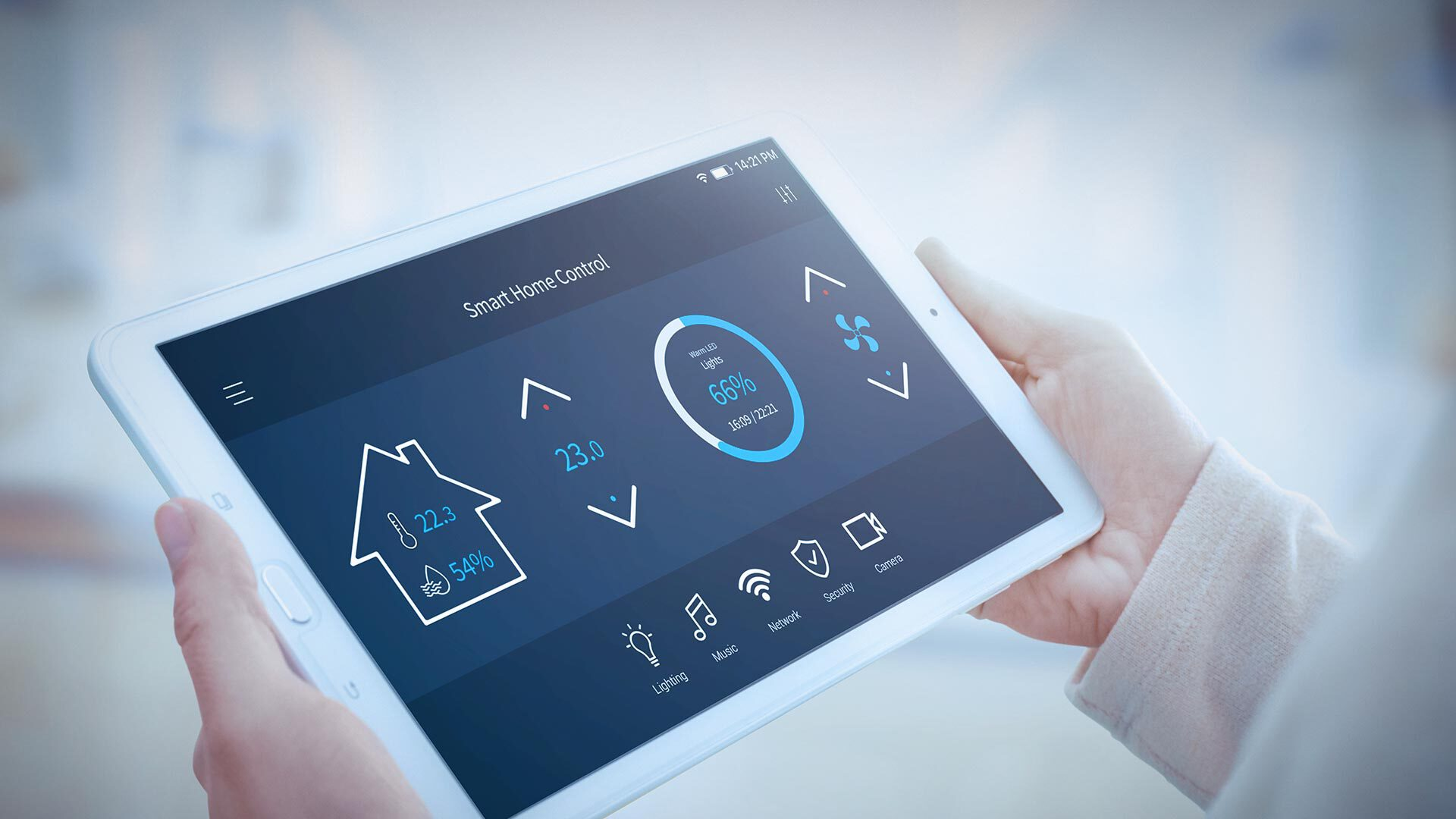 The necessity of IoT Security illustrated by a smart home control on a tablet