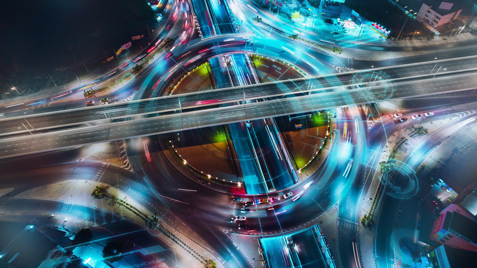 Motorway junction at night from a bird's eye view